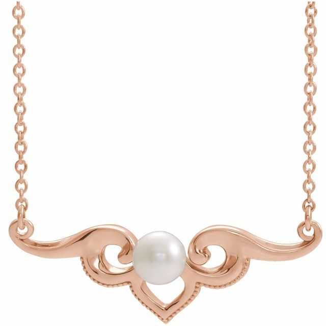 Cultured Freshwater Pearl Necklace in 14 Karat Rose Gold Freshwater Cultured Pearl Bar 18