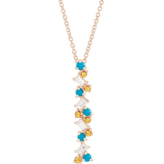 Multi-Gemstone Necklace in 14 Karat Rose Gold Honey Passion Topaz, Turquoise & 1/8 Carat Diamond Scattered Bar 16-18