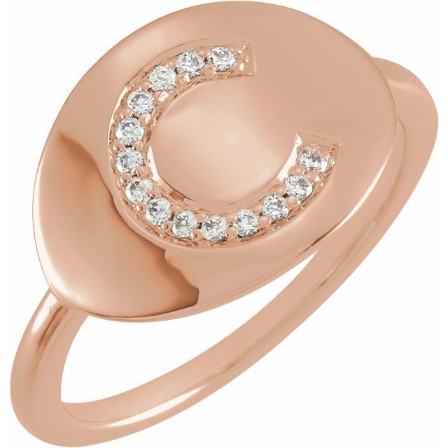 White Diamond Ring in 14 Karat Rose Gold Initial C .08 Carat Diamond Ring