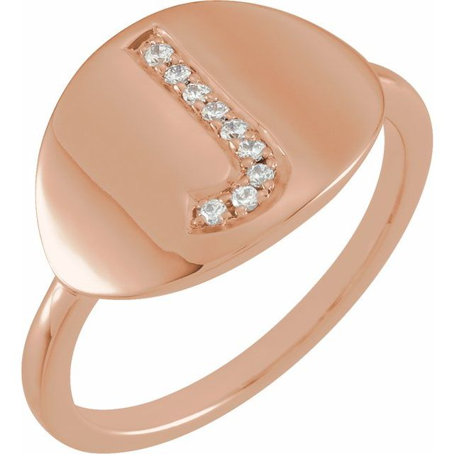 White Diamond Ring in 14 Karat Rose Gold Initial J .05 Carat Diamond Ring