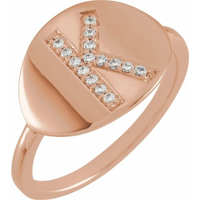 White Diamond Ring in 14 Karat Rose Gold Initial K 1/10 Carat Diamond Ring
