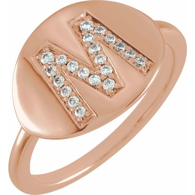White Diamond Ring in 14 Karat Rose Gold Initial M 1/8 Carat Diamond Ring