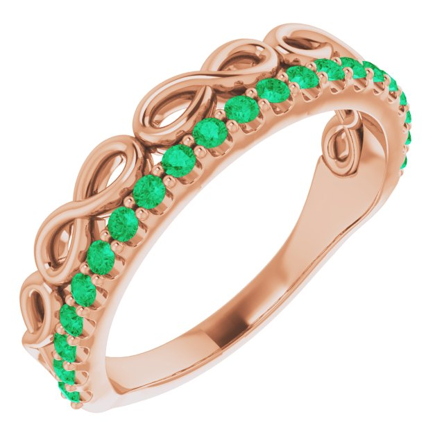 Genuine Chatham Created Emerald Ring in 14 Karat Rose Gold Lab-Created Emerald Stackable Infinity-Inspired Heart Ring