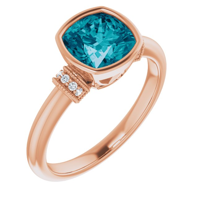 Genuine Topaz Ring in 14 Karat Rose Gold London Genuine Topaz & .04 Carat Diamond Ring