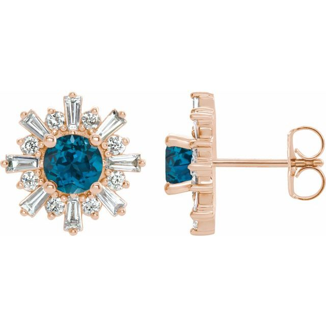 Topaz Earrings in 14 Karat Rose Gold London Topaz & 3/4 Carat Diamond Earrings