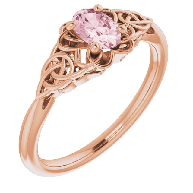 Pink Morganite Ring in 14 Karat Rose Gold Morganite Celtic-Inspired Ring