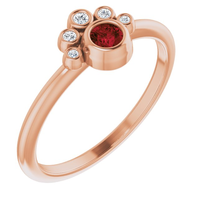 Red Garnet Ring in 14 Karat Rose Gold Mozambique Garnet & .04 Carat Diamond Ring