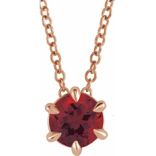 Red Garnet Necklace in 14 Karat Rose Gold Mozambique Garnet Solitaire 16-18