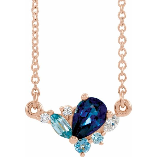 Genuine Sapphire Necklace in 14 Karat Rose Gold Multi-Gemstone & .06 Carat Diamond 18