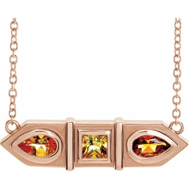 Multi-Gemstone Necklace in 14 Karat Rose Gold Multi-Gemstone Geometric Bar 16