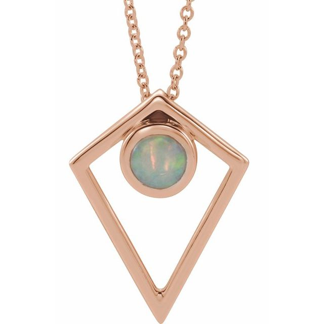 White Opal Necklace in 14 Karat Rose Gold Opal Cabochon Pyramid 16-18