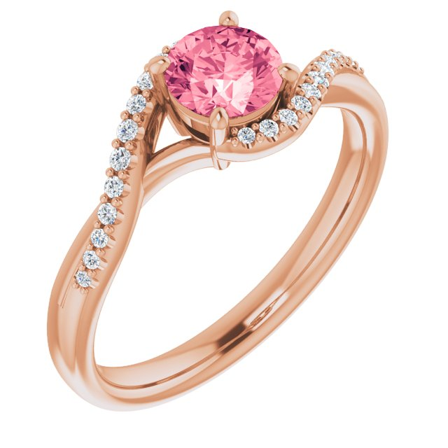 Genuine Topaz Ring in 14 Karat Rose Gold Passion Pink Topaz & 1/10 Carat Diamond Ring