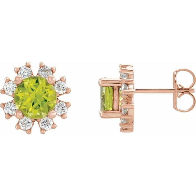 Genuine Peridot Earrings in 14 Karat Rose Gold Peridot & .07 Carat Diamond Earrings