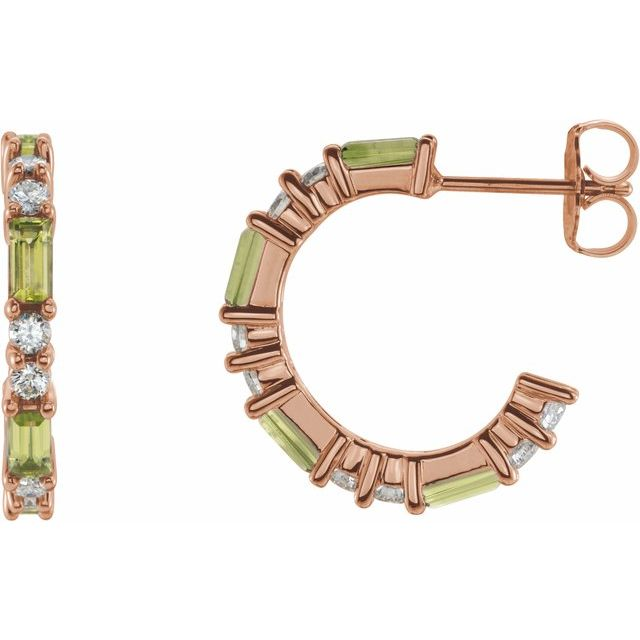 Genuine Peridot Earrings in 14 Karat Rose Gold Peridot & 1/2 Carat Diamond Earrings