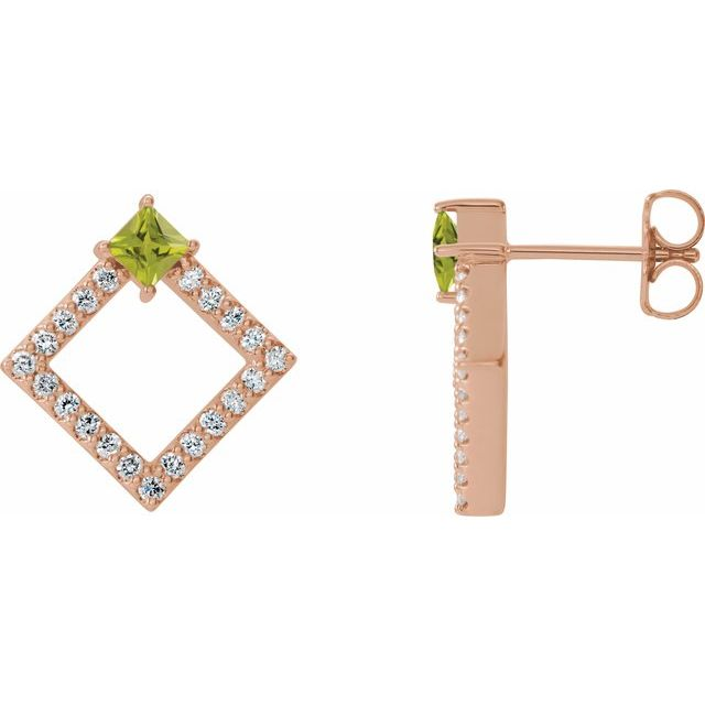 Genuine Peridot Earrings in 14 Karat Rose Gold Peridot & 1/3 Carat Diamond Earrings