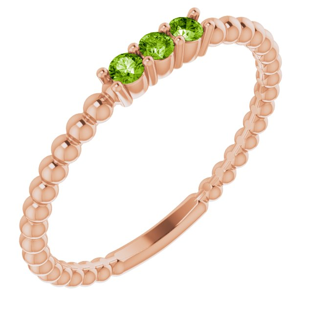 Genuine Peridot Ring in 14 Karat Rose Gold Peridot Beaded Ring