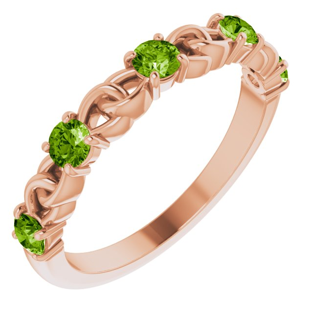 Genuine Peridot Ring in 14 Karat Rose Gold Peridot Stackable Link Ring