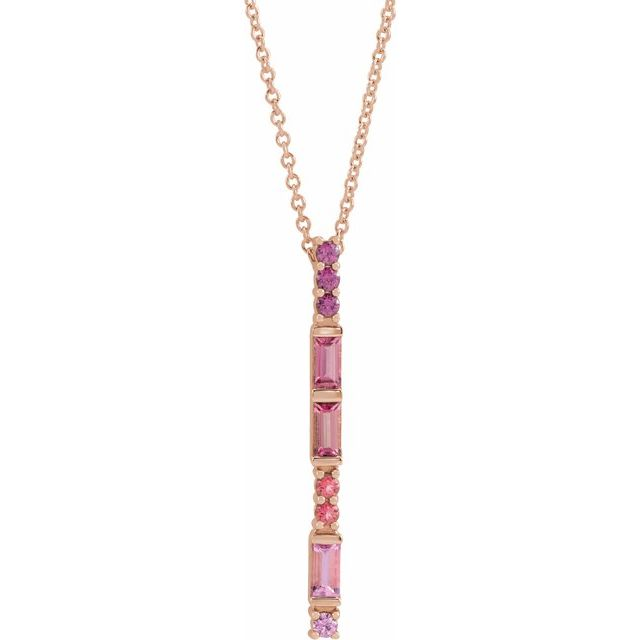 Multi-Gemstone Necklace in 14 Karat Rose Gold Pink Multi-Gemstone Bar 16-18