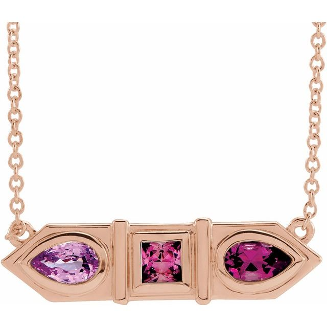 Multi-Gemstone Necklace in 14 Karat Rose Gold Pink Multi-Gemstone Geometric Bar 16
