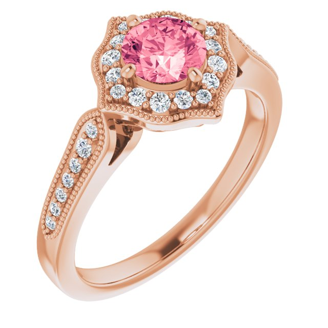Genuine Topaz Ring in 14 Karat Rose Gold Pink Topaz & 1/5 Carat Diamond Ring