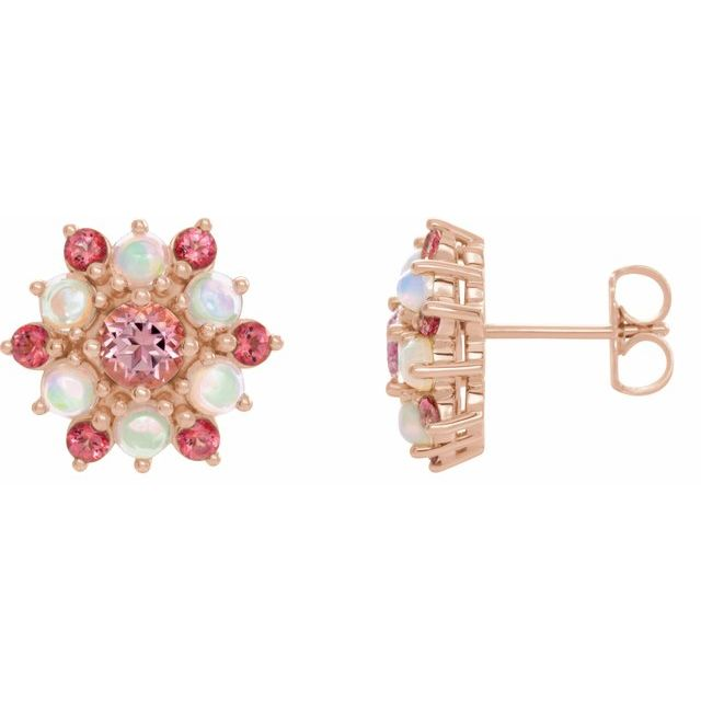 Topaz Earrings in 14 Karat Rose Gold Pink Topaz & Ethiopian Opal Cabochon Earrings