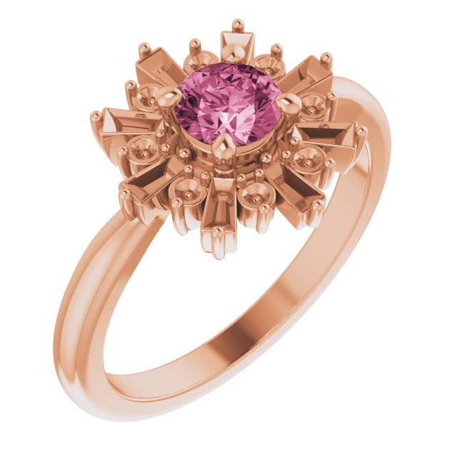 Pink Tourmaline Ring in 14 Karat Rose Gold Pink Tourmaline & 3/8 Carat Ring