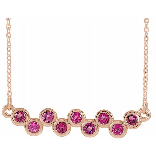 Pink Tourmaline Necklace in 14 Karat Rose Gold Pink Tourmaline Bezel-Set Bar 16-18