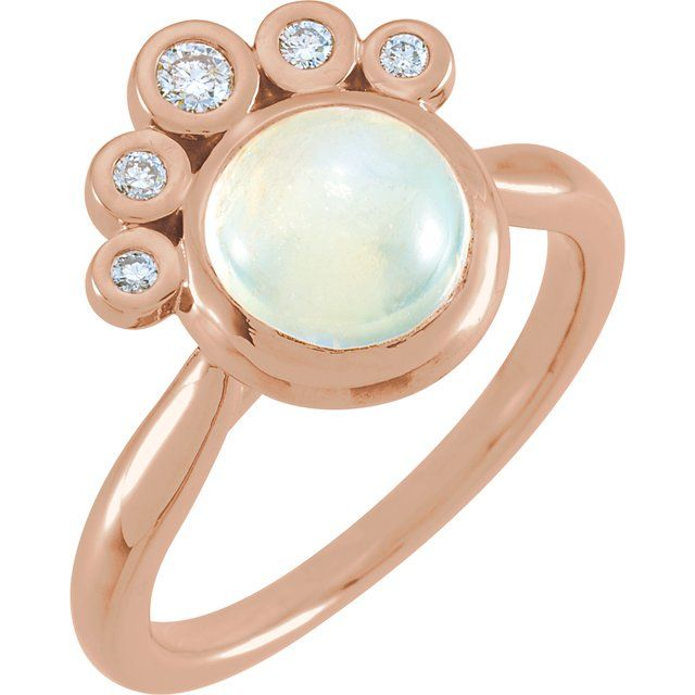 Moonstone Ring in 14 Karat Rose Gold Rainbow Moonstone & 1/8 Carat Diamond Ring