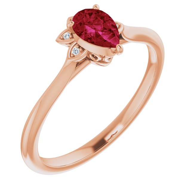 Natural Ruby Ring in 14 Karat Rose Gold Ruby & .015 Carat Diamond Ring