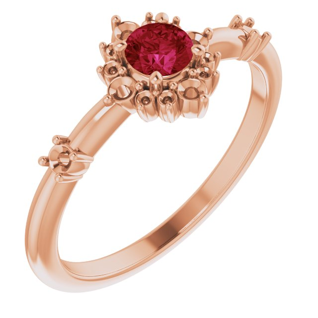 Natural Ruby Ring in 14 Karat Rose Gold Ruby & 1/6 Carat Diamond Ring
