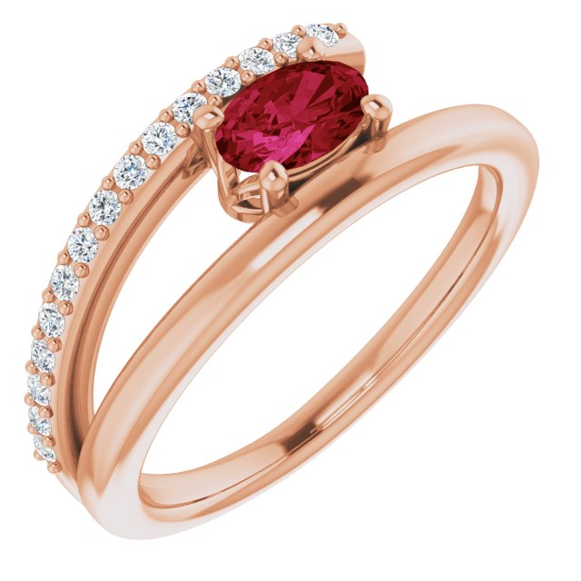 Natural Ruby Ring in 14 Karat Rose Gold Ruby & 1/8 Carat Diamond Ring
