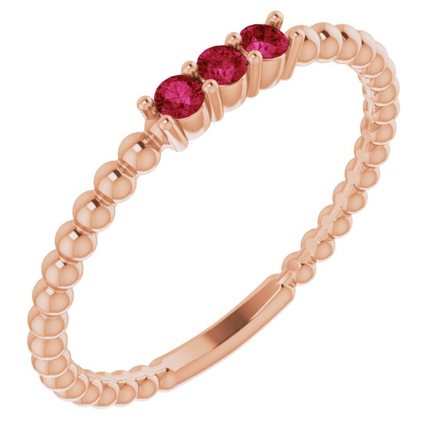 Genuine Ruby Ring in 14 Karat Rose Gold Ruby Beaded Ring
