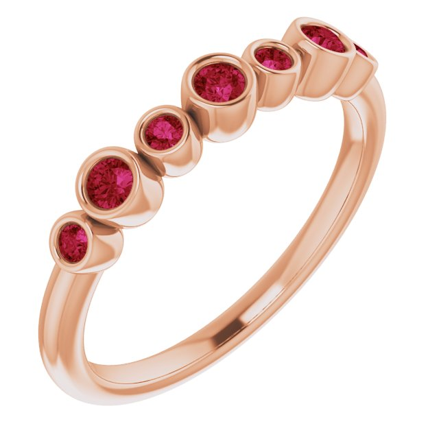 Natural Ruby Ring in 14 Karat Rose Gold Ruby Bezel-Set Ring