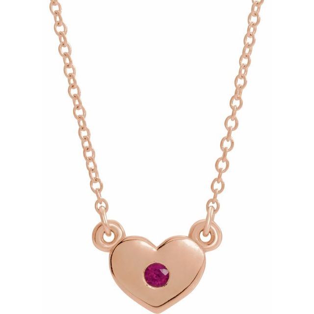Genuine Ruby Necklace in 14 Karat Rose Gold Ruby Heart 16