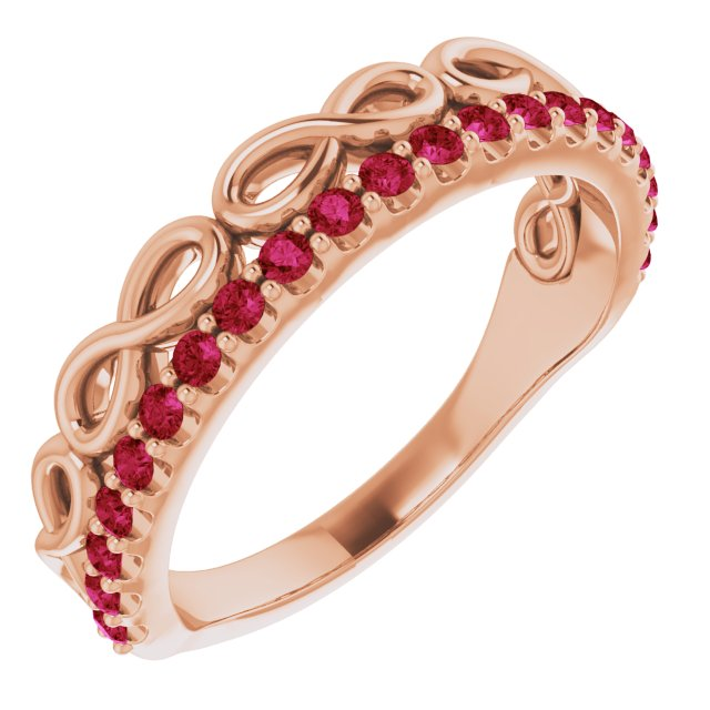 Natural Ruby Ring in 14 Karat Rose Gold Ruby Infinity-InspiNatural Stackable Ring