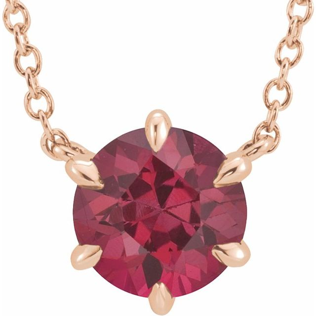 Genuine Ruby Necklace in 14 Karat Rose Gold Ruby Solitaire 18