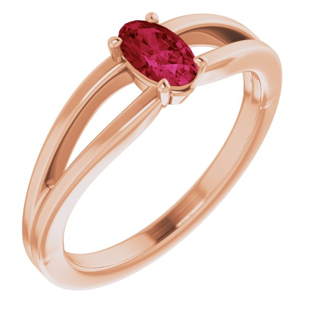 Natural Ruby Ring in 14 Karat Rose Gold Ruby Solitaire Youth Ring