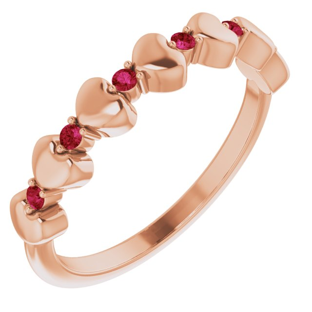 Natural Ruby Ring in 14 Karat Rose Gold Ruby Stackable Heart Ring