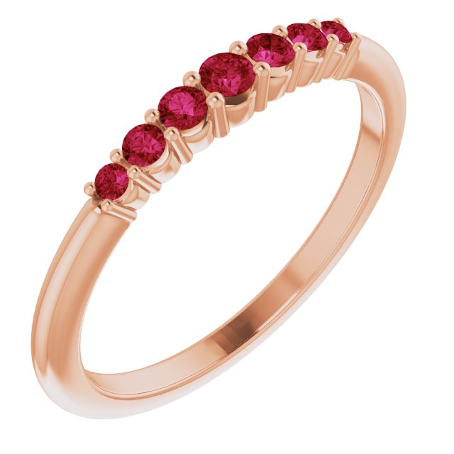 Genuine Ruby Ring in 14 Karat Rose Gold Ruby Stackable Ring