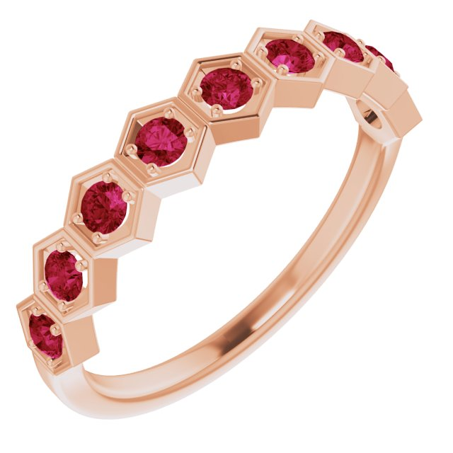 Natural Ruby Ring in 14 Karat Rose Gold Ruby Stackable Ring