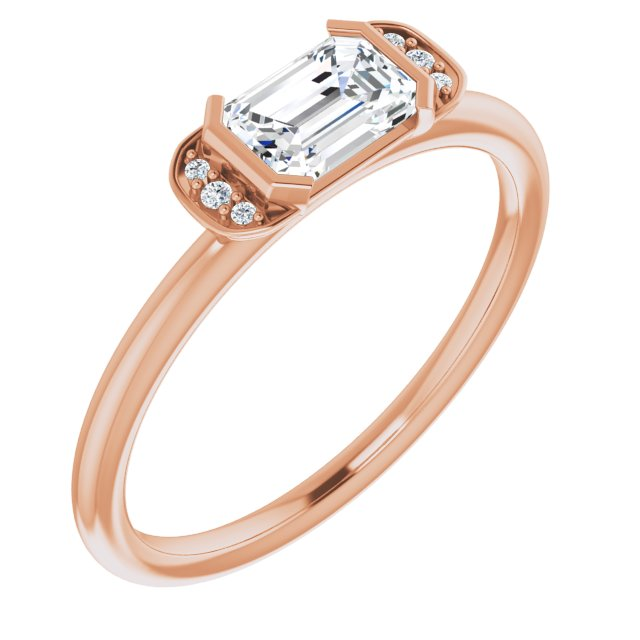 Genuine Sapphire Ring in 14 Karat Rose Gold Sapphire & .02 Carat Diamond Stackable Ring