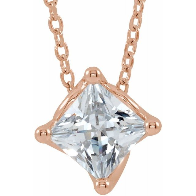 Genuine Sapphire Necklace in 14 Karat Rose Gold Sapphire Solitaire 16-18