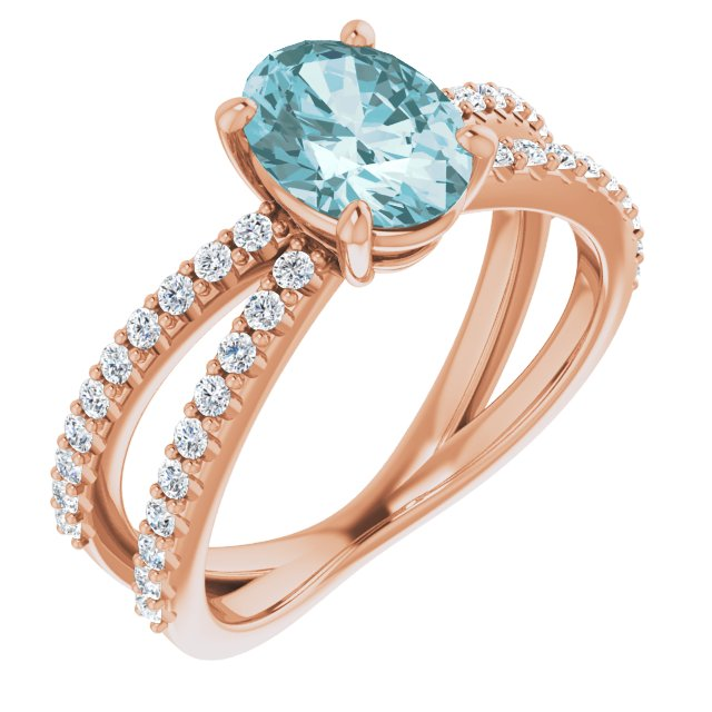 Genuine Topaz Ring in 14 Karat Rose Gold Sky Genuine Topaz & 1/3 Carat Diamond Ring