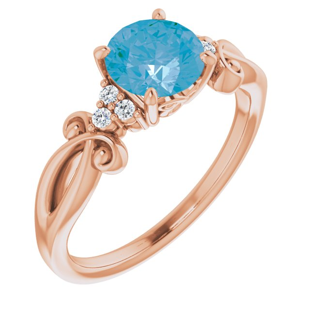 Genuine Topaz Ring in 14 Karat Rose Gold Swiss Genuine Topaz & .06 Carat Diamond Ring
