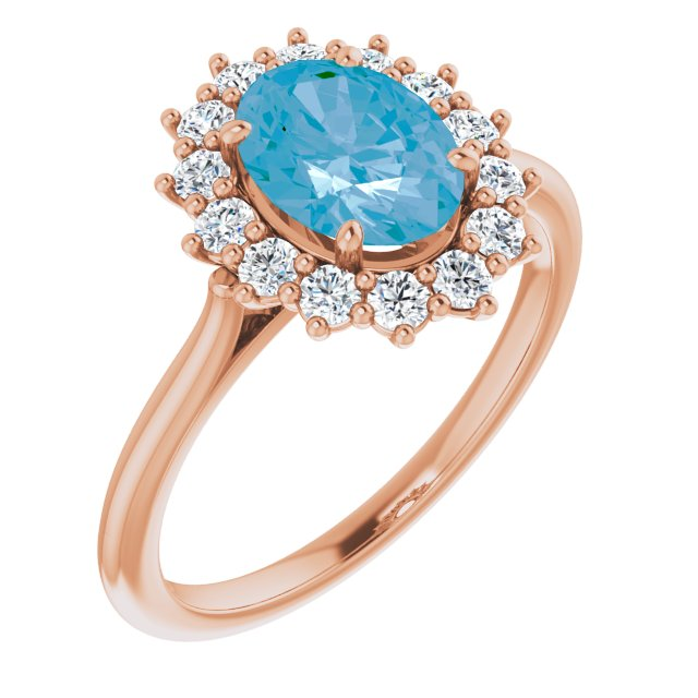 Genuine Topaz Ring in 14 Karat Rose Gold Swiss Genuine Topaz & 3/8 Carat Diamond Ring