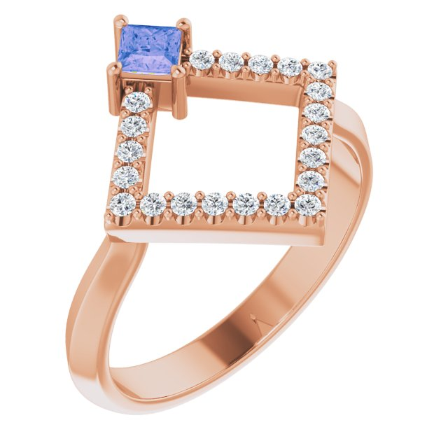 Genuine Tanzanite Ring in 14 Karat Rose Gold Tanzanite & 1/5 Carat Diamond Geometric Ring