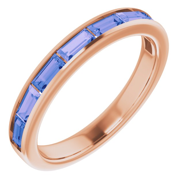 Genuine Tanzanite Ring in 14 Karat Rose Gold Tanzanite Ring