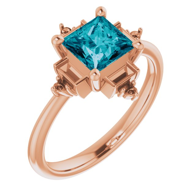Genuine Topaz Ring in 14 Karat Rose Gold Topaz & 1/5 Carat Diamond Geometric Ring