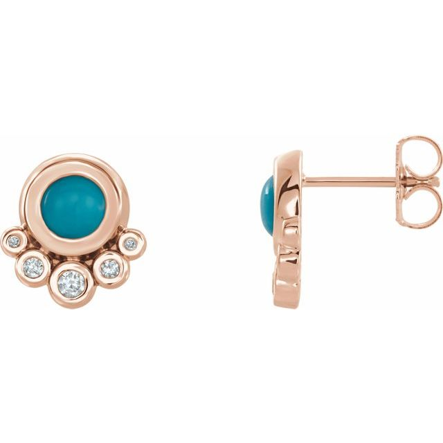 Genuine Turquoise Earrings in 14 Karat Rose Gold Turquoise & 1/8 Carat Diamond Earrings