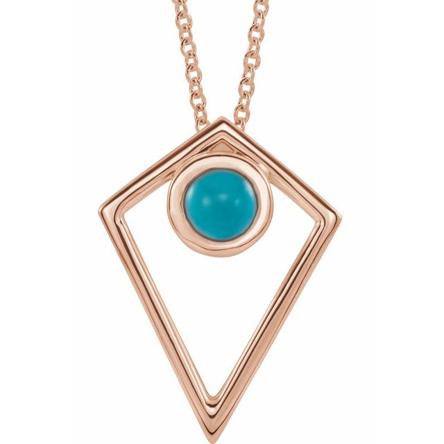 Genuine Turquoise Necklace in 14 Karat Rose Gold Turquoise Cabochon Pyramid 16-18